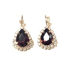 Jewelry - Gold and Maroon Earrings